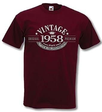 1958 Vintage Year - 58 Geburtstagsgeschenk / Gegenwart T-Shirt Burgund S