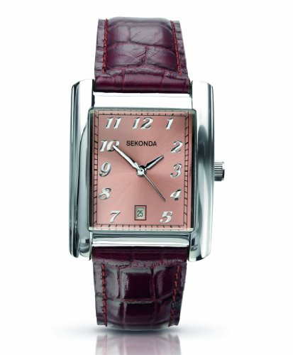 Sekonda Men's Quartz Watch with Pink Dial Analogue Display and Brown Leather Strap 3373.27
