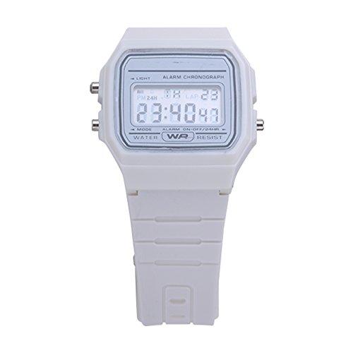 ATOZ Damen Mädchen Mode Gummi Silikon Band Digital Uhren Stoppuhr Armbanduhr (Weiss)