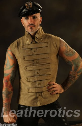 New Mens Steampunk Military Waistcoat Vest Top Mandarin Vintage Guard Snap SPA2 (Large)