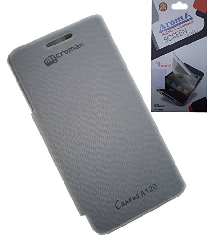 Original Flip Cover for Micromax Canvas 2 A120 in White Colour With Aroma Clear Screen Guard