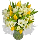 FREE Delivery - Mellow Yellow Bouquet - A luscious arrangement of 10 Yellow Roses and 10 fragrant White Freesias