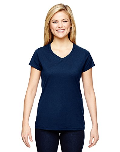 Champion for Team 365 Vapor® Ladies' Cotton Short-Sleeve V-Neck, Large, SPORT DARK NAVY