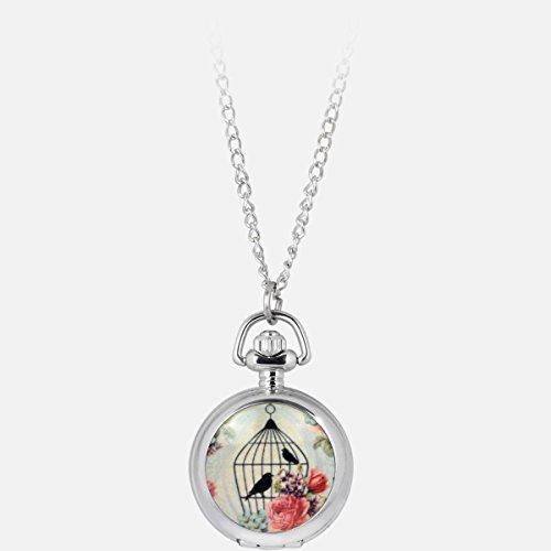 Collana Orologio Tascabile, Orologio Specchio Collana in Acciaio, con Rose ed Uccellini molto elegante ed originale