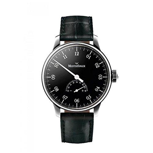 MeisterSinger UM207UNOMATIK Automático Reloj Para Hombre Acero Quandrante Piel, Enganche Para Cinturón, Color Negro