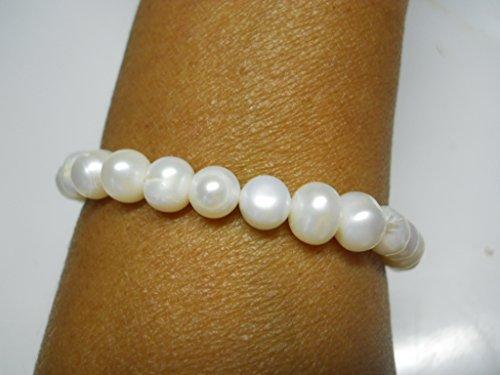 Bianco 5-6mm d' acqua dolce braccialetto di perle