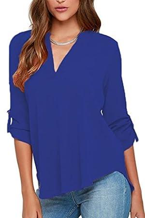 Kickmoda Womens Casual Chiffon Ladies V-Neck Cuffed Sleeve Blouse Tops (S-XXL) Blue (US8-10)M