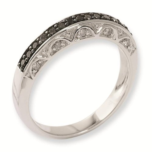 Sterling Silver Black and White Genuine Diamond Ring - Size 6