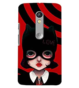 PrintDhaba MASK GIRL D-6243 Back Case Cover for MOTOROLA MOTO X PLAY (Multi-Coloured)