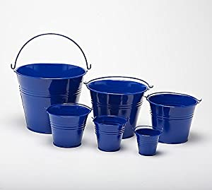 "Pack of 5 Navy Blue 8.5cm (3.3"") Metal Buckets - Pots - Planters for sweet tree kits, plants, favours, storage (B9048)"
