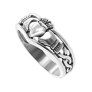 Plain Sterling Silver 4mm Band 7mm Front Claddagh Ring Size 5, 6, 7, 8, 9