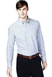"2"" Longer Pure Cotton Striped Oxford Shirt"
