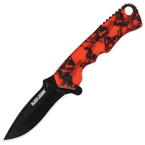 United Cutlery Bv162 Black Legion Mayhem Skull Folding Knife, Orange