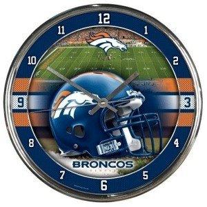Denver Broncos Round Chrome Wall Clock by Hall of Fame Memorabilia