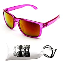 W107-vp 80s Sports Sunglasses + SV Pouch (Crystal Pink, Mirrored)