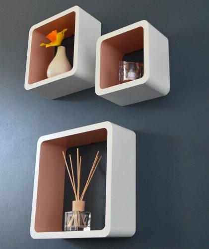 TS Ideen 5700 Set di 3 Mensole a Cubo da Parete, Stile Retró Design Anni '70, MDF, Caffellatte
