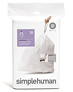 simplehuman -  Code D, Custom Fit Recycling Bin Liners, 20 Pack -  20 Litre