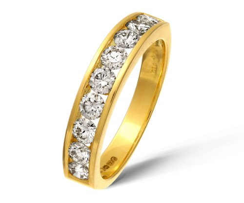 18ct Yellow Gold 1ct Certified IJ/I Diamond Channel Set Half Eternity Ring