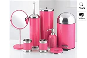 8 Piece Bathroom Accessories Set Pink Amazon Co Uk