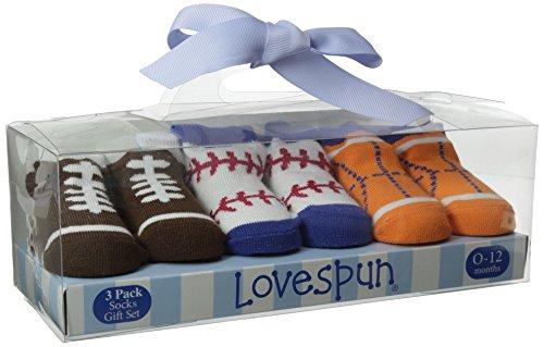 Lovespun Baby-Boys Newborn Sport Print 3 Pack Gift Box Sock Set, Assorted, 0-12 Months/Petite
