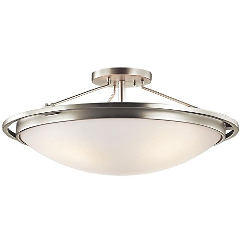 Kichler Lighting 42025Ni Transitional 4-Light Semi-Flush, Brushed Nickel Finish With Etched White Inside Glass Shade front-1014423