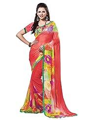 Indian Designer Sari Amiable Floral Printed Faux Georgette Saree By Triveni