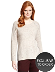 Plus Cable Knit Flecked Jumper with Wool