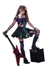 Zombie Rockstar Goth Punk Singer Halloween Costume with Bracelet for Mom