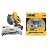 DEWALT DW716 12 in. Double-Bevel Compound Miter Saw with DEWALT DW3128 Series 20 12-Inch 80 Tooth ATB Thin Kerf Crosscutting Miter Saw Blade with 1-Inch Arbor