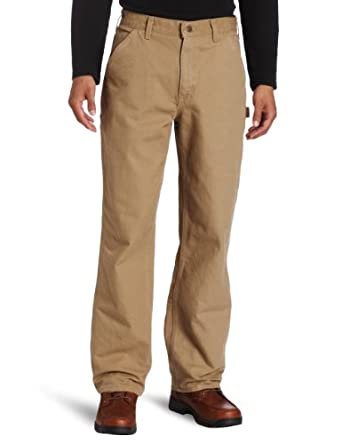 Carhartt Men's Washed Duck Work Dungaree Pant B11, Dark Khaki, 35x32