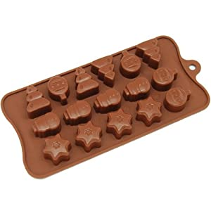 Freshware CB-604BR 16-Cavity Christmas Tree/Ornament and Star Chocolate/Candy and Clay Silicone Mold, Brown