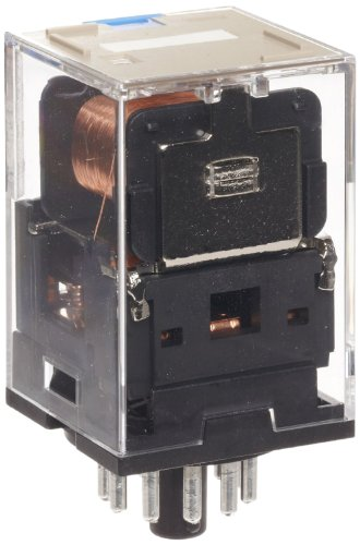 Omron Mks2Pn-D Dc6 General Purpose Relay With Mechandical Indicator, Led Indicator And Diode Type, Plug-In Terminal, Standard Internal Connections, Double Pole Double Throw Contacts, 224 Ma Rated Load Current, 6 Vdc Rated Load Voltage