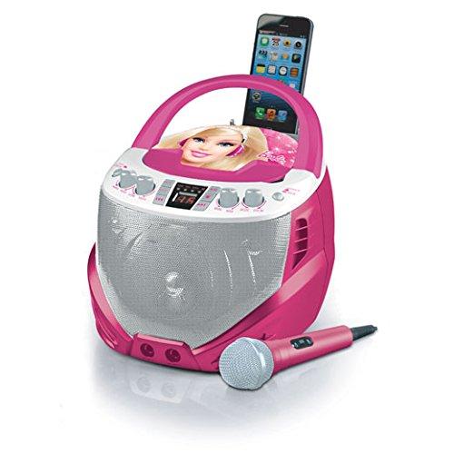 Barbie - Reproductor de CD-G, portátil para karaoke (Lexibook K7000BB)