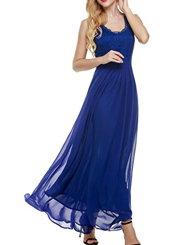 ANGVNS Women's Modest V Neck Open Back Chiffon Long Evening Gown with Lace(Dark Blue,L)