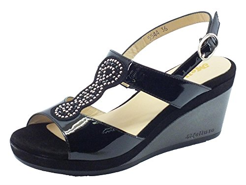 Sandali Melluso in vernice nera zeppa alta (Taglia 36)