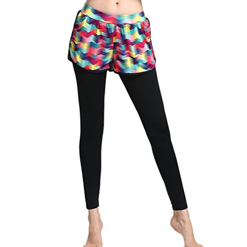 Zhhlaixing Womens Running yoga Pants Workout Trousers Fake two Tights LWQ-0047