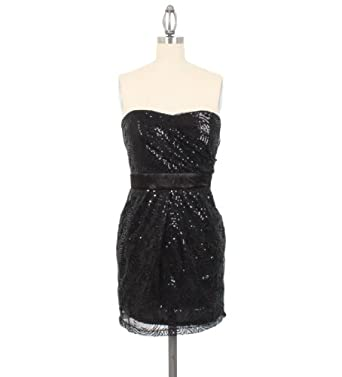 Romeo & Juliet Couture Spiral Sequinned Strapless Dress in Black, Large