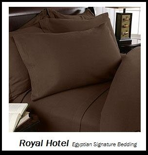 Royal Hotel'S Solid Chocolate 600-Thread-Count 4Pc King Bed Sheet Set 100-Percent Egyptian Cotton, Sateen Solid, Deep Pocket front-1056643