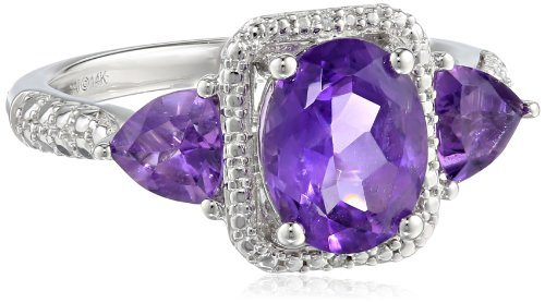 14k White Gold Amethyst and Diamond-Accented Ring, Size 7