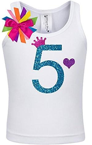 Bubblegum Divas Little Girls 5th Birthday Rainbow Princess Shirt