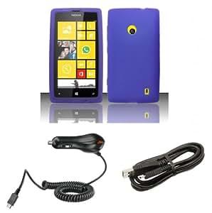 nokia lumia 521 520 accessory kit purple silicone gel cover atom led. Black Bedroom Furniture Sets. Home Design Ideas