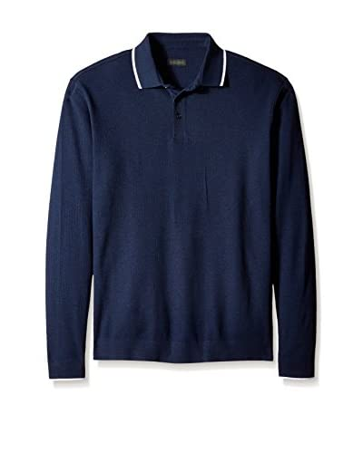 Z Zegna Men's Tipped Long Sleeve Polo