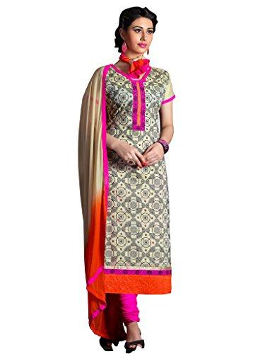 Beige Colour Foux Cotton Semi Party Wear Thread Embroidery Churidar Suit