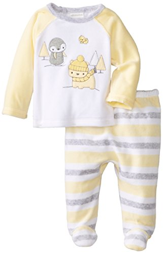 Absorba Unisex-Baby Newborn Uni Penguin Parade Velour Footed Pant Set, White, 0-3 Months front-621307