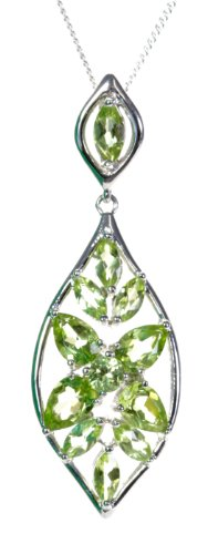 Beautiful 925 Sterling Silver Ladies Pendant + Chain with Peridot - 42mm*14mm, 5 Grams