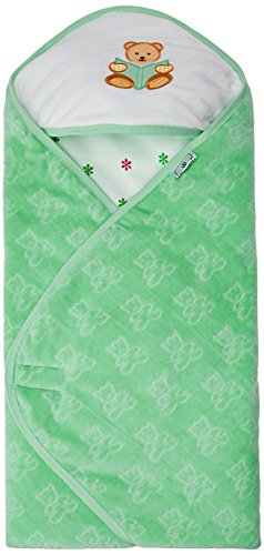 Tiny Care Baby Hooded Wrapper Jacquard Print (Green)