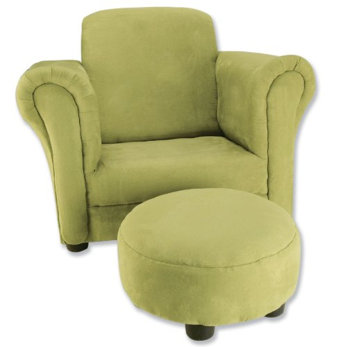 Trend Lab Ultrasuede Club Chair and Ottoman Set, Avocado
