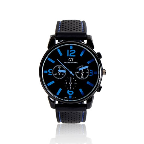 44Mm Round Dial With Blue Handle Newest Unisex Adult Cool Sports Wristwatch Quartz Watch Gift -Ship From Us