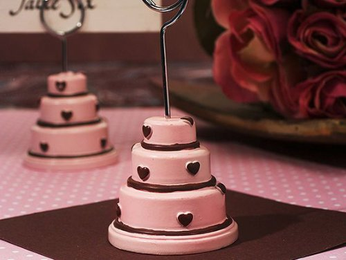 Wedding Favors Pink And Brown Hearts Accented Wedding Cake Place Card Holder