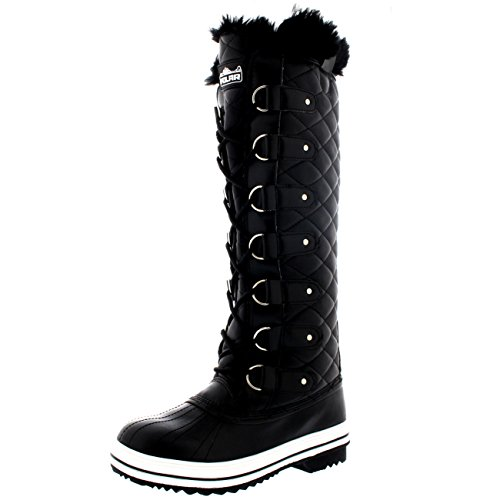 Womens Quilted Knee High Duck Fur Lined Rain Lace Up Muck Snow Winter Boots - 8 - BLL39 YC0051 (Knee High Rain Boots For Women compare prices)